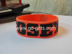 Wide orange silicon wristbands