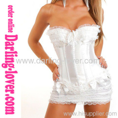Satin Ruffle White Corset Sets