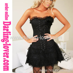 Black Corset Lace Dress Sets
