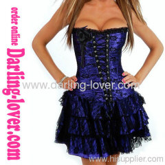 Blue Lace Corset Dress Sets