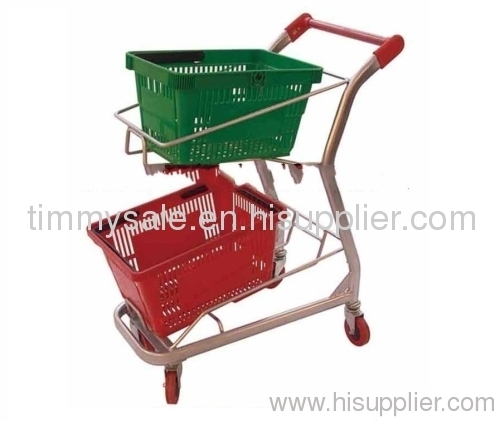Powder Coating Double Layers Rolling Shopping Basket Cart/grocery shopping carts