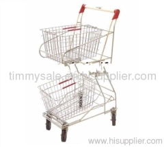 double wire mesh basket shopping cart/hand trolley/luggage trolley