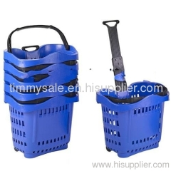 Plastic Rolling Shopping Basket With Wheels MADE IN CHINA /plastic basket for food