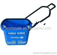 rolling plastic supermarket shopping basket with wheels /plastic storage baskets