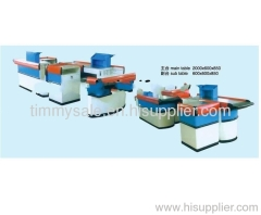 exquisite and durable supermarket checkout counter with conveyor/ supermarket checkout counter/cashier machine