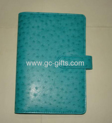 A5 green ostrich leather notebook cover