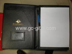 Promotional A4 sized black leather portfolio