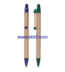 Eco recycle paper ballpoint pen with slim clip
