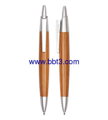 Promotional bamboo ballpen with plastic trims and clip