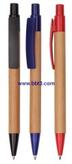 Promotional bamboo ballpoint pen with plastic accessories