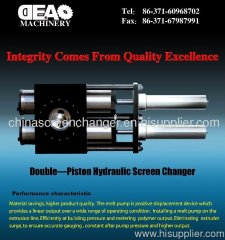 Twin piston screen changer for plastic extruders