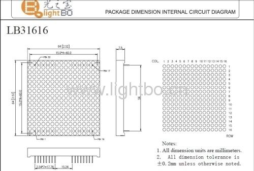 indicador led 3mm 16 x 16 matricial con paquete dimensión 64 x 64 x7.5mm, varios colores disponibles