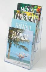 Clear PS flyer holder A4 x 4 tiers