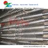 Bimetallic twin screw and barrel