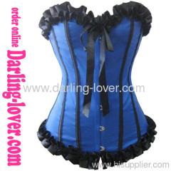 Black Lace up Sexy Blue Corset