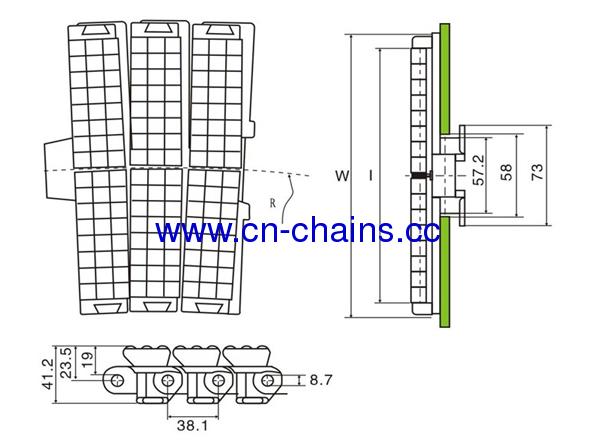 Heavy duty side flexing conveyor chains(RW823TAB-K750))