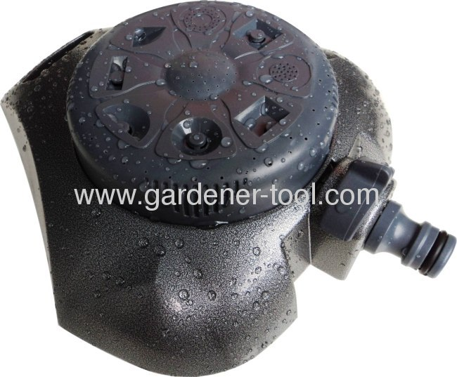 8-way stationary sprinkler as garden water sprinkler with metal base and plastic sprinkler