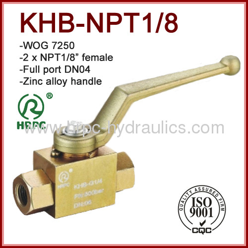 1/8 inch hydraulic oil 2 way full port female thread ball valve high pressure 7250psi
