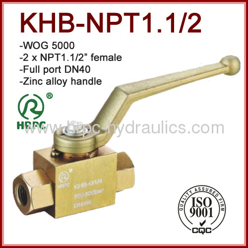 NPT dn40 high pressure 5000psi hydraulic ball valve carbon steel