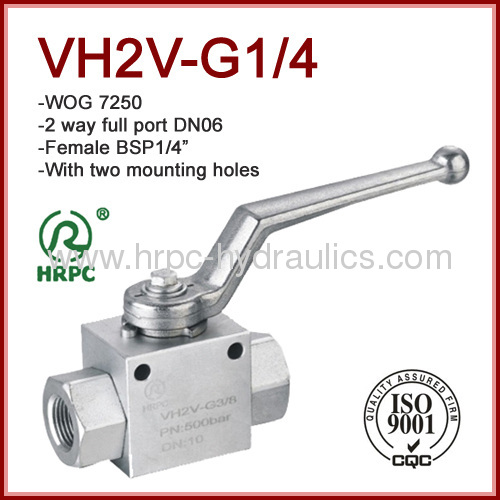 7250psi high pressure 2 way full port ball valve stainless steel with mounting holes
