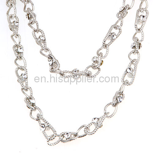 Wholesale Costume Dainty Double Layered Crystal Chain Necklace China