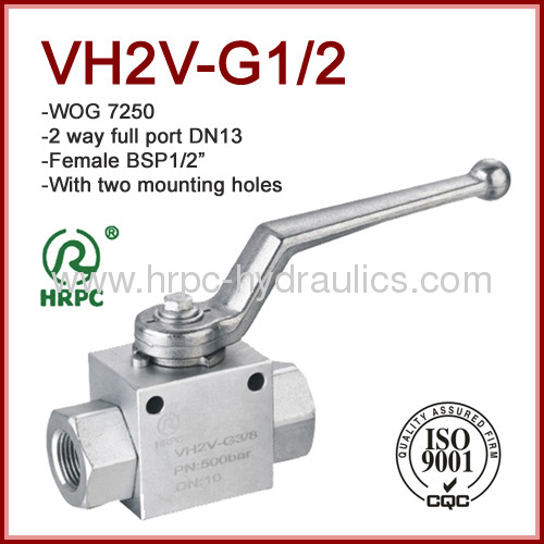 hydraulic ball valve with mounting holes high pressure 7250psi two way internal thread
