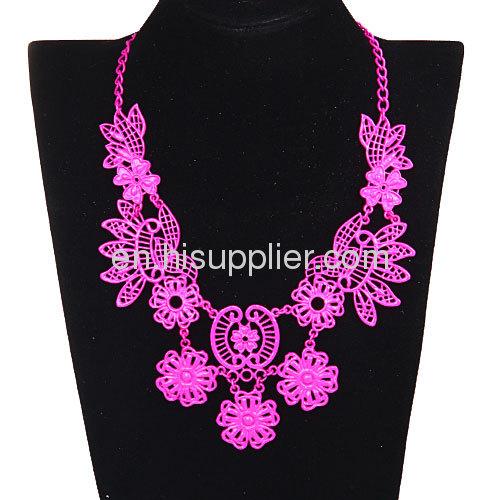 Chinese Yellow Costume Jewelry Vintage Designer Flower Bib Necklace Sale