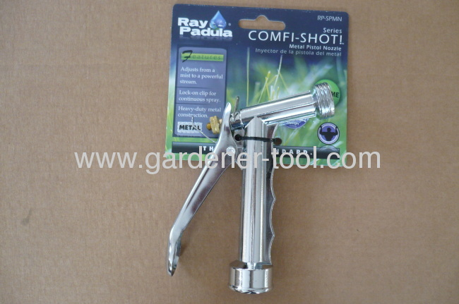 Metal 5.5garden water nozzle with male screw at the nozzle to joint another water equipment