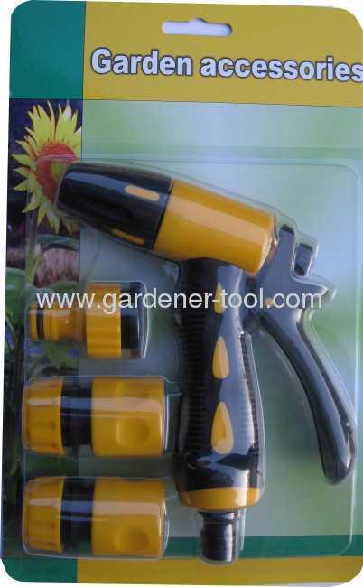 Plastic 2-way hose nozzle with hose coupling as water nozzle set.
