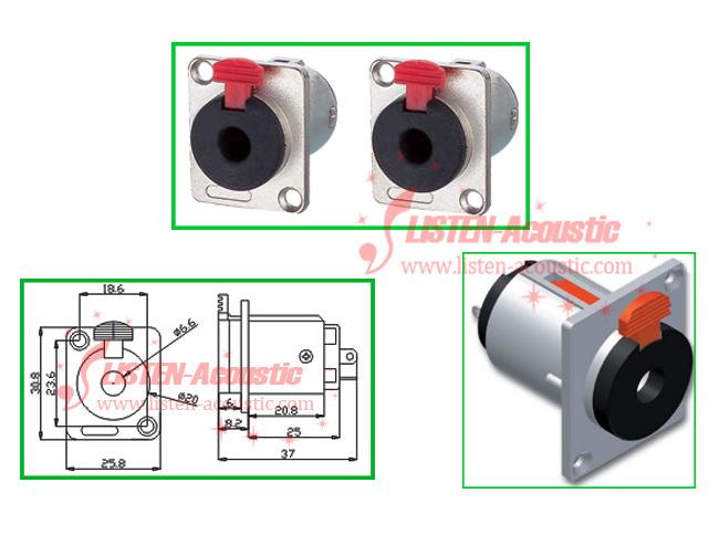 6.3 Nickle Audio Female female jack socket Connector Chassis Socket CD Series Speakon