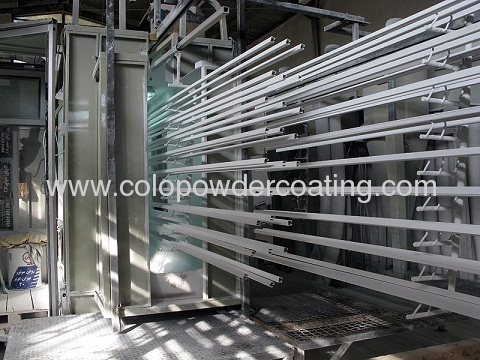 vertical powder coating line for painting aluminium profiles