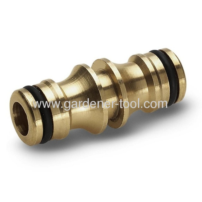 Brass 2-way hose connector to joint 2pcs hose together via snap-in quick connector