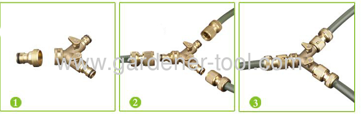 twin tap connector with valve for Split one water faucet to two water outlet
