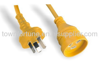 Australian extension cords in yellow color