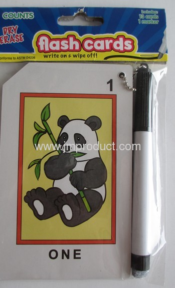 Children education flash cards with marker