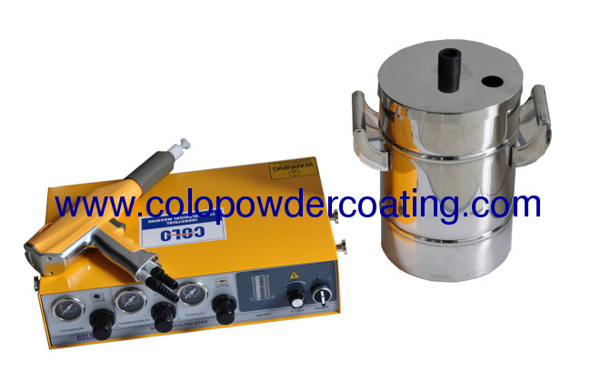 Easy to take classic model colo-500T-H with 20X40CM or 20X30CM powder hoper for testing manual powder coating mchine
