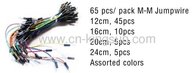 Jumper Male/Male Wire 65pc for Solderless Breadboard