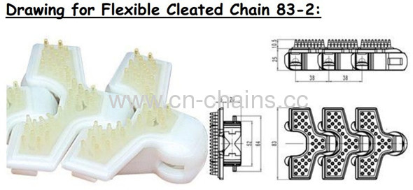 Chain with Rubber flexible cleated chains 83-2