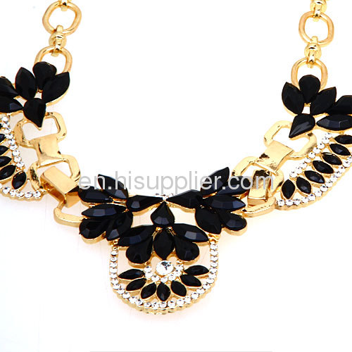 2013 Fashion Gold And Black Flower Choker Collar Necklace Bijouterie Wholesale