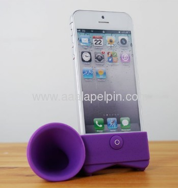 For iphone 5 5G horn stand speaker, Silicone amplifier for iphone