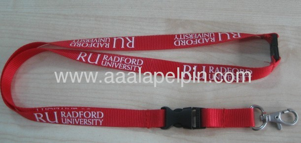 Red nylon lanyards with safety clip,Buckle release and metal hook