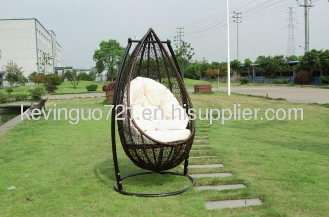 Outdoor Rattan Patio Swing Chair Set