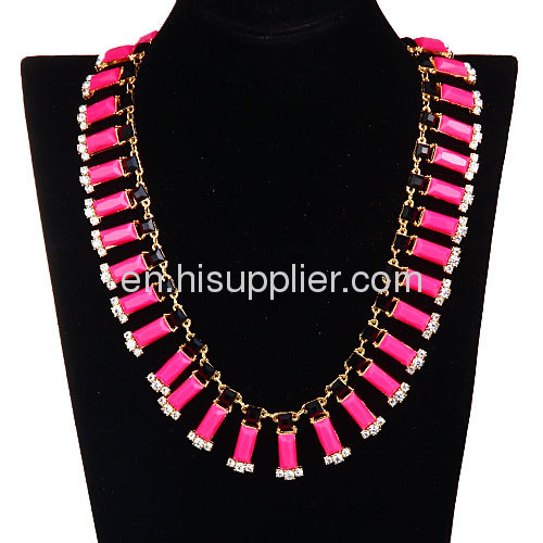 Wholesale Green Fake Jade Crystal Chunky Chain Bar Statement Necklace