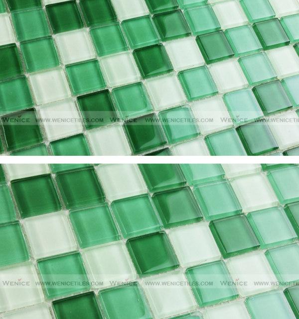 Green mixed white glass mosaic