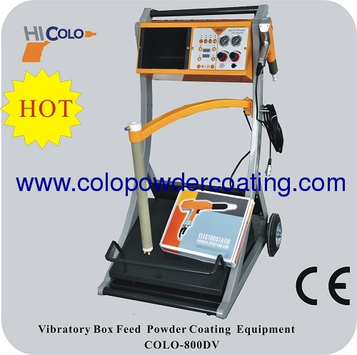 Intelligent box feed easy to change colors vibrating manual powder coating machine COLO-800D-V