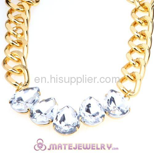 Fashion Accessories Ribbon Tie Rhinestone Goldplated Chunky Chain Necklace
