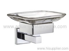 Square Zinc Alloy Soap Dish Holder with Glass Soap Dish