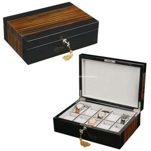Tiger Burl Wooden Watch Box Case Winder