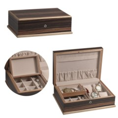 Latte Brown Leather Wooden Watch Case Box