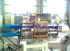 Hydraulic screen changer for extrusion lines